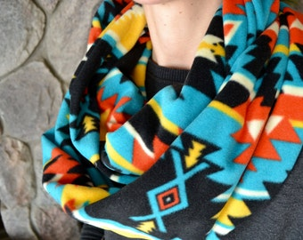 Aztec Fleece Scarf, aztec winter scarf, aztec winter print, aztec scarf, multicolored winter scarf, big winter scarf, fleece scarf, tribal