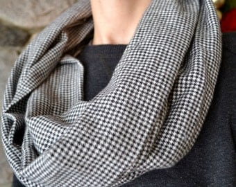houndstooth infinity scarf with removable cuff, houndstooth scarf, houndstooth infinity scarf, snap scarf, scarf with cuff, winter scarf