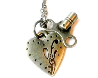 Skate Key and Heart Necklace Steampunk pendant Handmade Gift