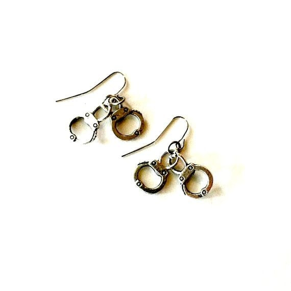 Handcuff Earrings silver dangling handcuff earrings Handmade Gift