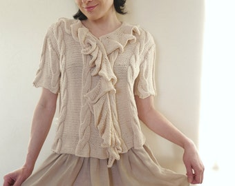 Cotton Hand Knit Short Sleeve Cardigan / Blouse Romantic Shabby Chic Beige Cream Ivory Cardigan Ruffled Collar Cable Knit Braid Knit