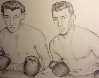 The Kray Twins original drawing .A4 fan-art. Ronnie Reggie boxing