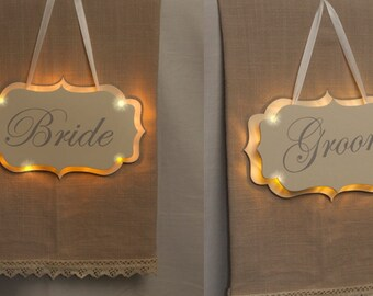 Illuminated light up led Bride and groom signs for wedding