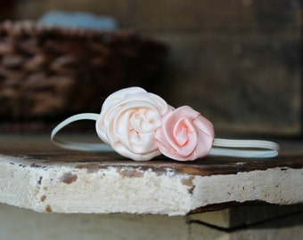 Cream and Peach Satin Flower Headband, photo prop, Newborn, toddler, adult