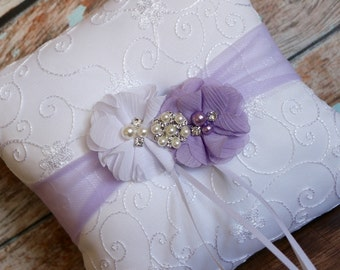 Your Color , Lavender Ring Bearer Pillow , Ring Bearer Pillow , Ivory or White Ring Bearer Pillow , Plum Color  Wedding