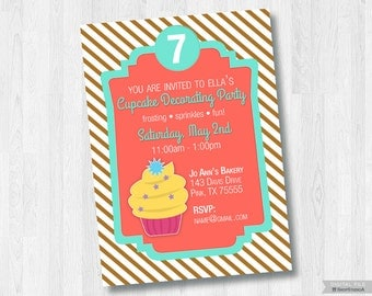 Cupcake Decorating Party-Printable 5x7 Invitation *Digital File Only*