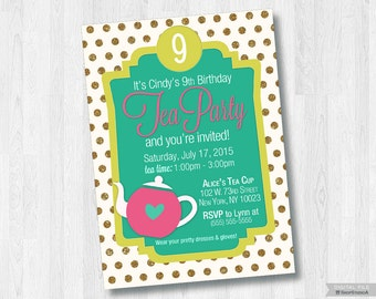 Tea Party-Printable 5x7 Invitation *Digital File Only*