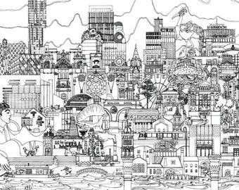 Manchester Skyline Giant Colouring Sheet