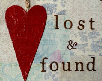 """Lost and found heart ORIGINAL mixed media painting 8"""" x 8"""" by Turkan Ilkdemirci"""