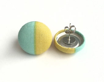Button earrings mint and yellow color block fabric earrings