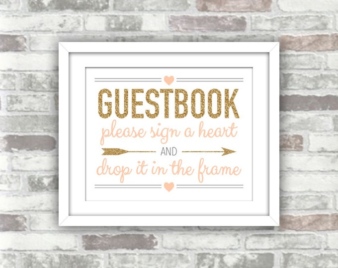 INSTANT DOWNLOAD - Printable Wedding Drop Top Heart Guestbook Guest Book Sign - Digital File - Gold Glitter Effect Blush Peach-Pink - 8x10