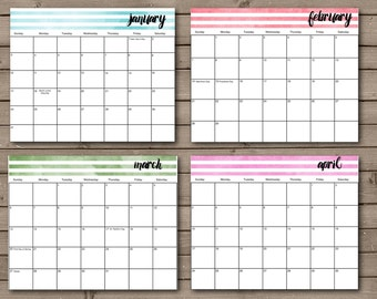 2017 Printable Calendar: INSTANT DOWNLOAD