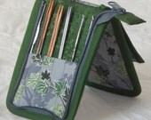 """12 pair capacity Interchangeable knitting needle and crochet hook keeper case storage for needles 3.5"""" to 5"""" in length up to size 4"""