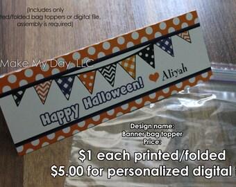 Halloween class treats ( Halloween banner design )  PIY Personalized bag toppers ~ Halloween Printable