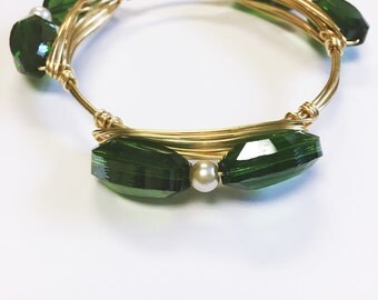 Emerald Green Wire Wrap Bangle