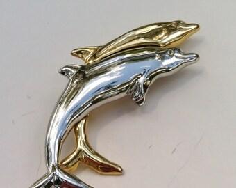 Vintage Dancing Dolphins Designer Liz Claiborne Brooch