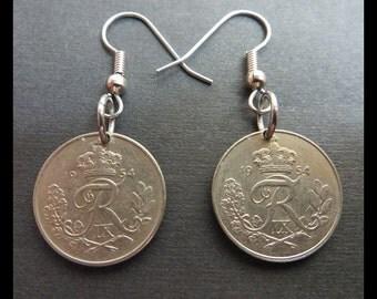 "Classic Antique (1954 Vintage DENMARK 10 Øre Danish Frederik IX, ""N Hearts S"" Crowned Monogram Coin Earrings w/ Hypoallergenic Hooks) TRENDY"