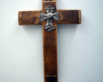 Cross Made out of Wine Barrels Handmade with Small Metal Cross
