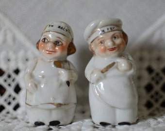 Vintage Japan Salt and Pepper Shakers • Chefs Man and Woman Salt and Peppers