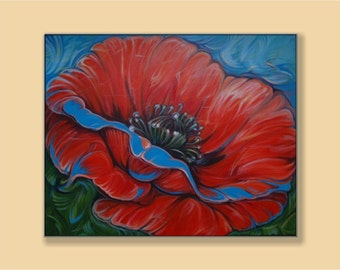 Red Poppy, Original Acrylic Painting, Abstract Painting, Home Decor, Wall Art.