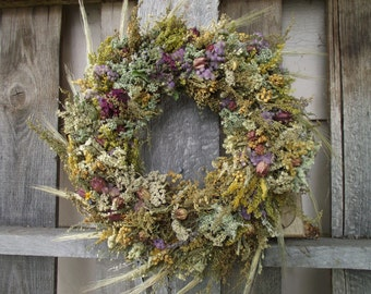 """Everlasting Fields of Southern Indiana Botanical 14"""" Wreath Completely Covered Elegant"""