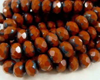 Czech Beads, 6x8mm Rondelle, Czech Glass Beads - Copper Brown Picasso (R8/N-0427), Reddish Brown Picasso Beads - Qty 12