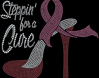 Rhinestone T- Shirt,Steppin for a cure, Breast Cancer, Awareness Clothing, Bling Tee, Sparkle Shirt, Black Stretch