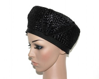 Vintage 1960s Hat Raffia Straw Black Garden Party Mad Man Rockabilly Raffia Hat Retro femme fatale