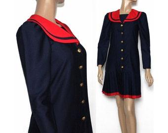Vintage 1960s Dress Navy Blue Red Nautical Sailor Dress Pleated Skirt Retro