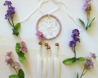 "3"" Lavender and Rose Quartz Dream Catcher with Flower Color Choices"
