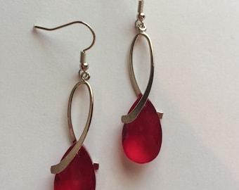 Red Crystal Earrings - SilverTeardrop Earrings - Crystal Teardrop Earrings - Teardrop Earrings - Garnet Red Earrings