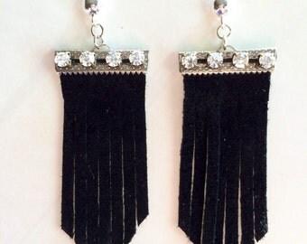 Chevron Earrings - Rhinestone Earrings - Women's Chevron Earrings - Leather Chevron Earrings - Holiday Earrings-