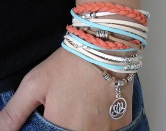 Bohemian Bracelet, Wrap Bracelet, Suede Bracelet, Womens Accessories, Suede Cord, Orange Bracelet, Leather Bracelet, Teen Gift, Wristband