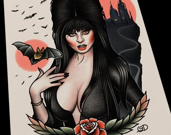 Elvira Tattoo Flash