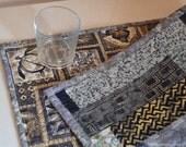 Blue and beige mini skinny table runner, quilted blue batik table runner.  Hoffman Bali batik fabric table decor.  Blue table decor UK