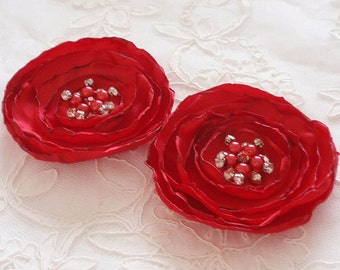 2  Handmade Singed Flowers With Pearl and Rhinestone Satin Flower Singed Roses (3.5  inches) In Red MY-394 -01 Ready To Ship