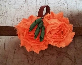 Double Pumpkin Headband or Hair Clip, Halloween, Fall, Thanksgiving