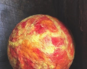 Large Sun, Ball, rattle, The Sun, Needle Felted, waldorf sun, mother nature, by wooly topic