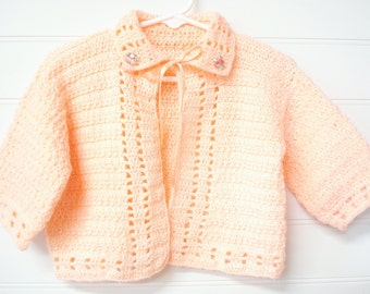 Baby Girl Sweater, Vintage Baby Sweater, Peach Baby Sweater, Crochet Baby Sweater, Handmade Baby Sweater, Size 6 to 12 Months.