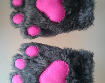 One Pair of Dark Grey Standard Length Paws with Bright Pink Felt Pads Cosplay Furry Costume Cute
