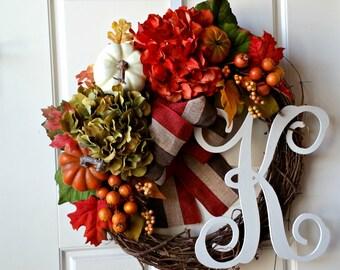 Wreath for Front Door,Fall Door Wreath,Fall Wreaths,Thanksgiving Wreath,Gift Idea,Wreath for Fall,Hydrangea Wreath,Monogrammed Wreath