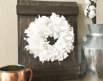Barn door Window Shutter decorative frame with rag fabric wreath - Farmhouse Decor