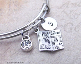Newspaper Bangle Personalized Hand Stamped Initial Birthstone Pewter Newspaper Stainless Steel Expandable Bangle Bracelet