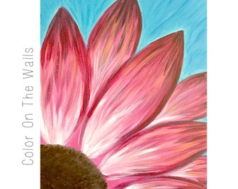Pink Daisy Canvas Painting - 20x16 Inch Pink Flower Canvas