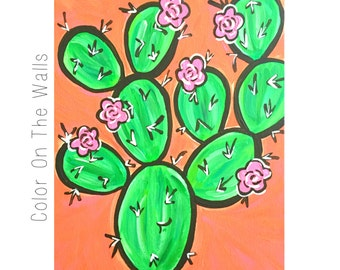 Prickly Pear Cactus Painting - Orange and Pink Cacti - Phoenix Art - Desert Painting