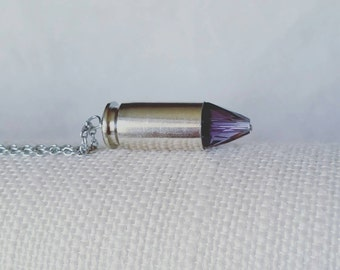 Crystal bullet necklace - bullet necklace - bullet casing - upcycled jewelry - bullet pendant - crystal bullet - industrial - bullet jewelry