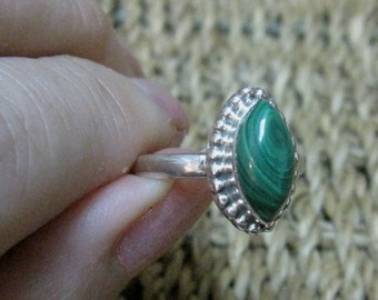 Malachite Sterling Silver Ring Size 7