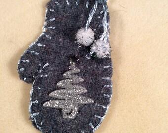 Blue mitten ornament