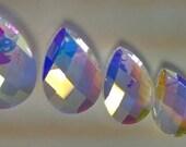 5 Chandelier Crystals Diamond Cut Iridescent AB Teardrop Prisms 38mm