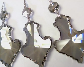 3 Lead Crystal Chandelier 63mm Pendalogue Pendants Prism Satin Grey Asfour Crystal Ornaments